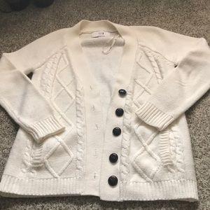 Forever21 Cream Argyle Cardigan - Size Large